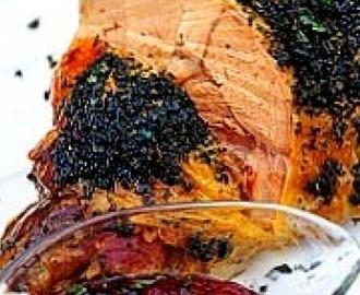 Leg of Lamb Baked in Foil with Butter and Herbs with Redcurrant, Orange and Mint Sauce