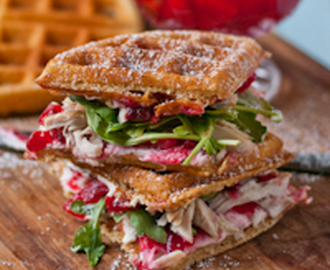 Waffled Cranberry Cream Cheese Turkey Sandwiches #SundaySupper