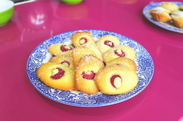Raspberry Madeleines with Creme Patissiere
