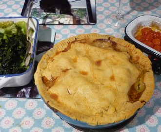Turnip, potato and leek pie with greens - gluten free