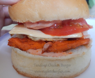 Chicken Tikka Burger with Potato Crisps