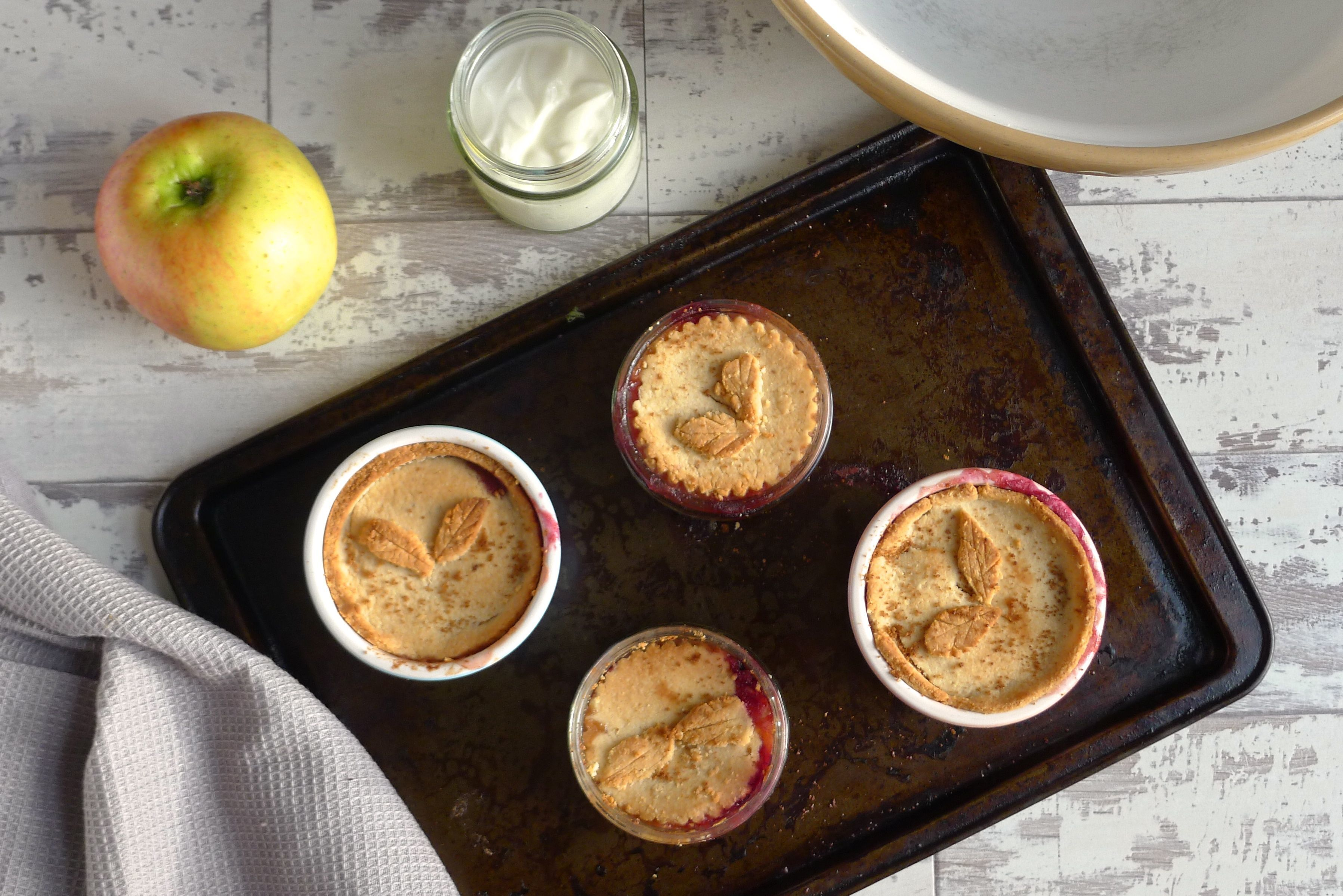 Mini Apple & Berry Pies Topped with Nut Pastry {grain free}