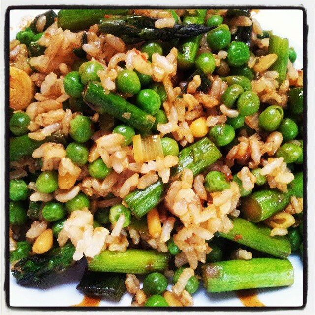 szechuan spring pea, asparagus, pine nut and brown rice salad