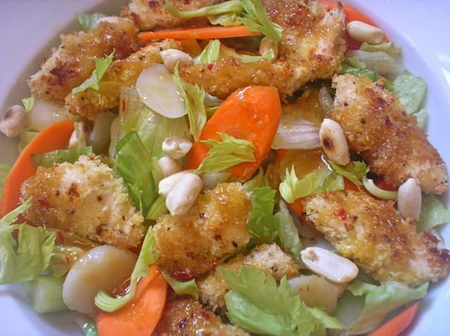 Chicken-Nugget Salad with Warm Sesame-Ginger Dressing