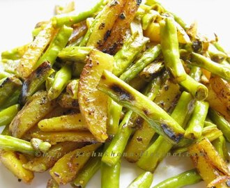 Alu Borboti Bhaja / Stir Fried Potaoes and Yard Long Beans
