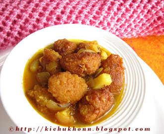 Mushur daler borar jhol / Fried lentil balls in a light gravy