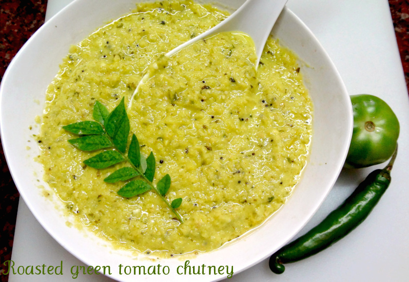 Roasted green tomatoes chutney