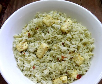 Spinach, Cilantro Pesto Pilaf with home made cottage cheese