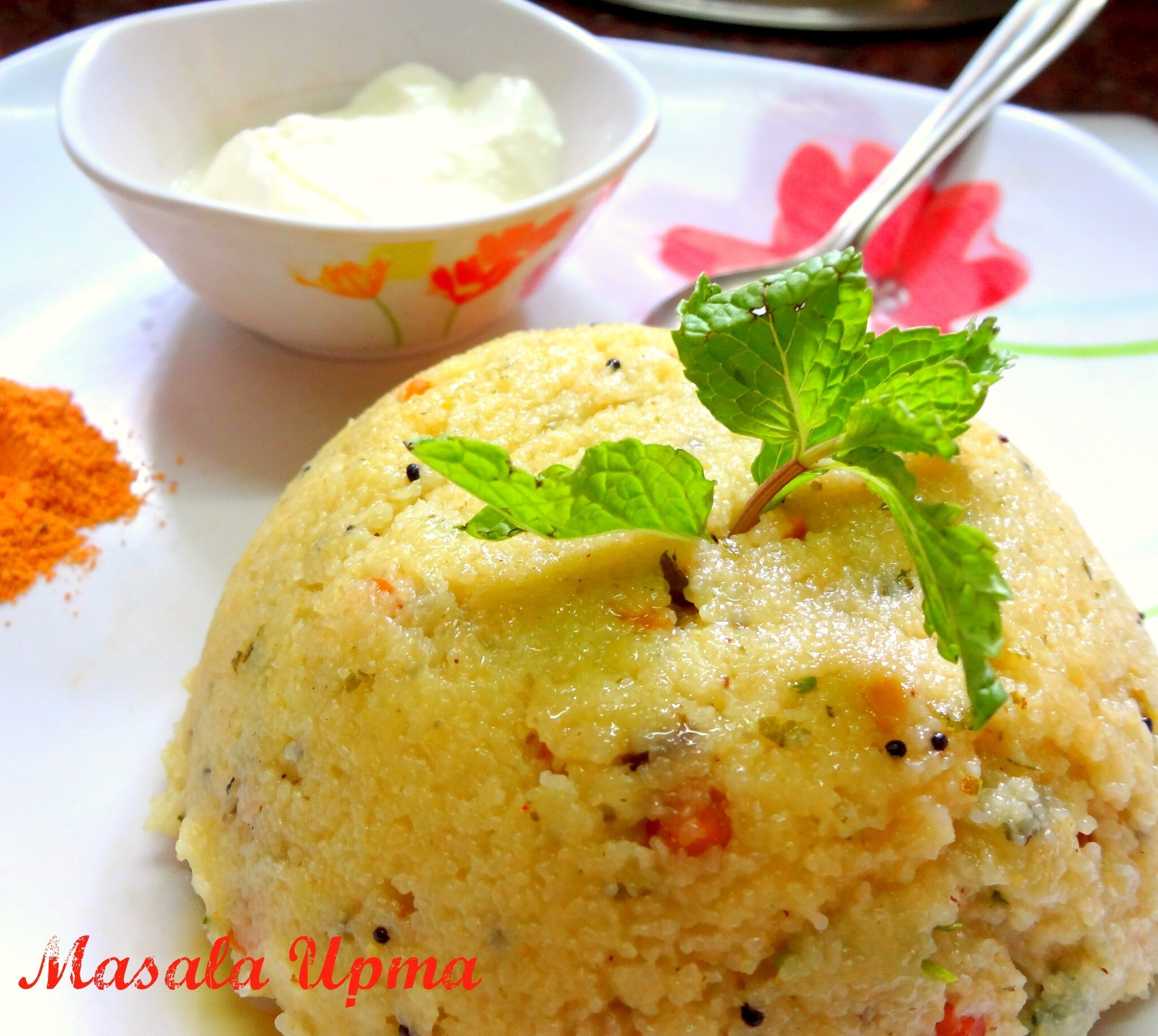 Rava Masala Upma ( Semoiline cooked with Indian spices and veggies)