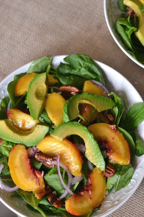 Grilled Avocado and Peach Spinach Salad #TheSaladBar
