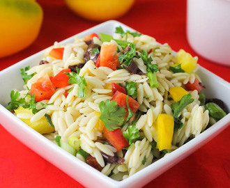 "Orzo Salad with Three Peppers and Olives ""Cooking Planit T-fal Giveaway"""