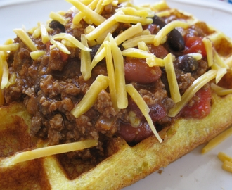 Chili and Corn Bread Waffles