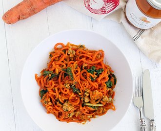 Butternut Squash Carrot Noodles with Sausage & Kale