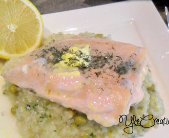 Salmone su un letto di riso   Salmon on a bed of rice