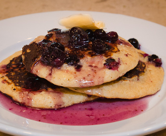Whole Wheat Blueberry Pancakes and Blueberry Maple Syrup