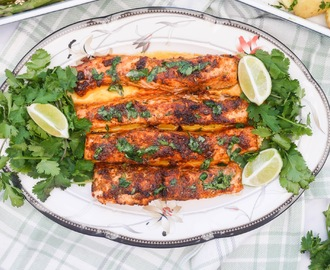 Grilled Salmon with Lime Coriander Butter.