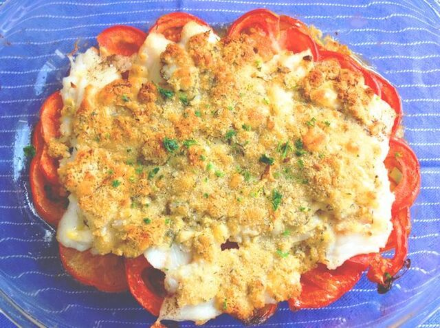 Baked Cod on Fresh Tomatoes and a Garlic Parmesan Crust