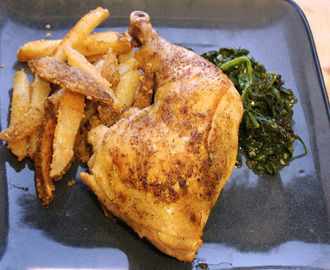 Cooking Planit Review - Roast Chicken, Parmesan Fries, Sautéed Spinach
