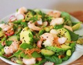 prawn sushi salad with wasabi dressing