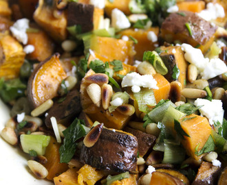 Roasted sweet potato, spring onion and feta salad