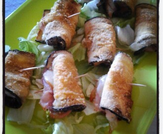 Involtini di melanzane light con prosciutto cotto e scamorza affumicata
