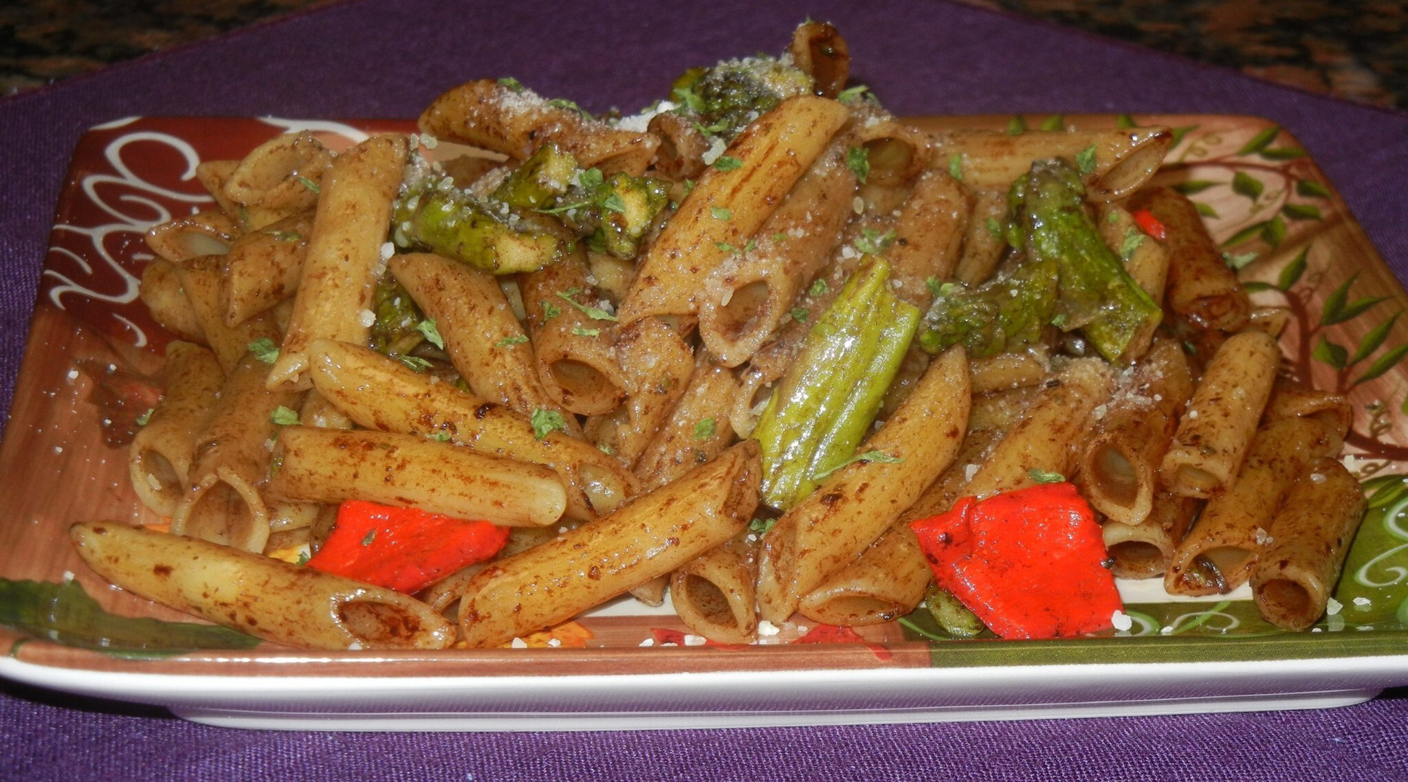 Penne Pasta with Roasted Asparagus, Red Pepper and Balsamic Butter