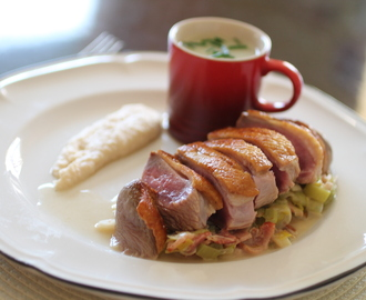 Pan Fried Duck Breast with White Bean Puree, Leeks, and Spring Onion and Prosecco Sauce