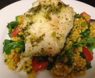 Israeli couscous and arugula salad with lemon mint dressing
