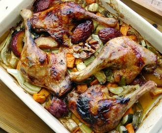 roast duck with plums, garlic and sweet potato