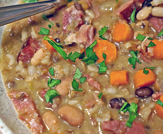 Slow Cooker Smoked Ham Bone Soup with Beans and Barley