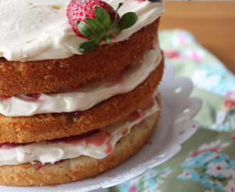 3 Layer Victoria Sponge Cake with Cream and Strawberries