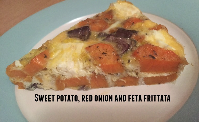 Sweet potato, red onion and feta frittata….
