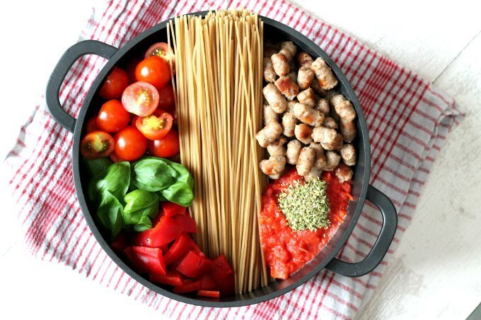 One Pot Creamy Sausage & Tomato Spaghetti   with  Gluten Free Brown Rice Pasta