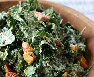 Raw Ranch Kale Salad with Roasted Pumpkin Croutons