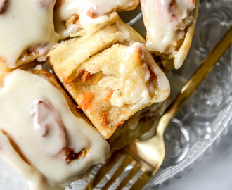 Carrot Cake Cinnamon Rolls with Mascarpone Icing.