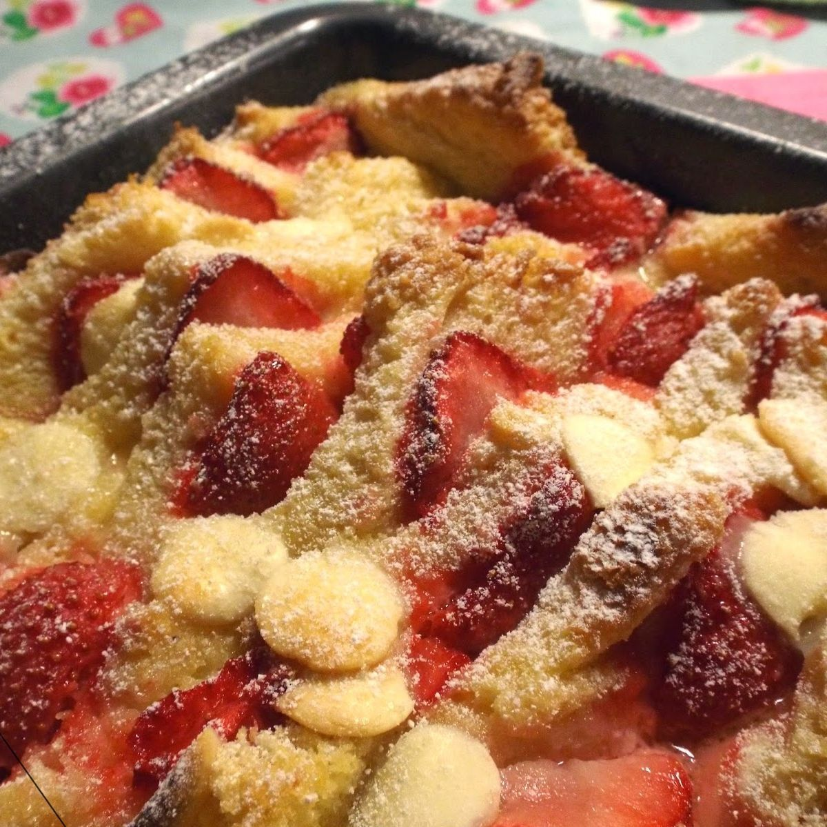 White Chocolate, Strawberry Bread & Butter Pudding