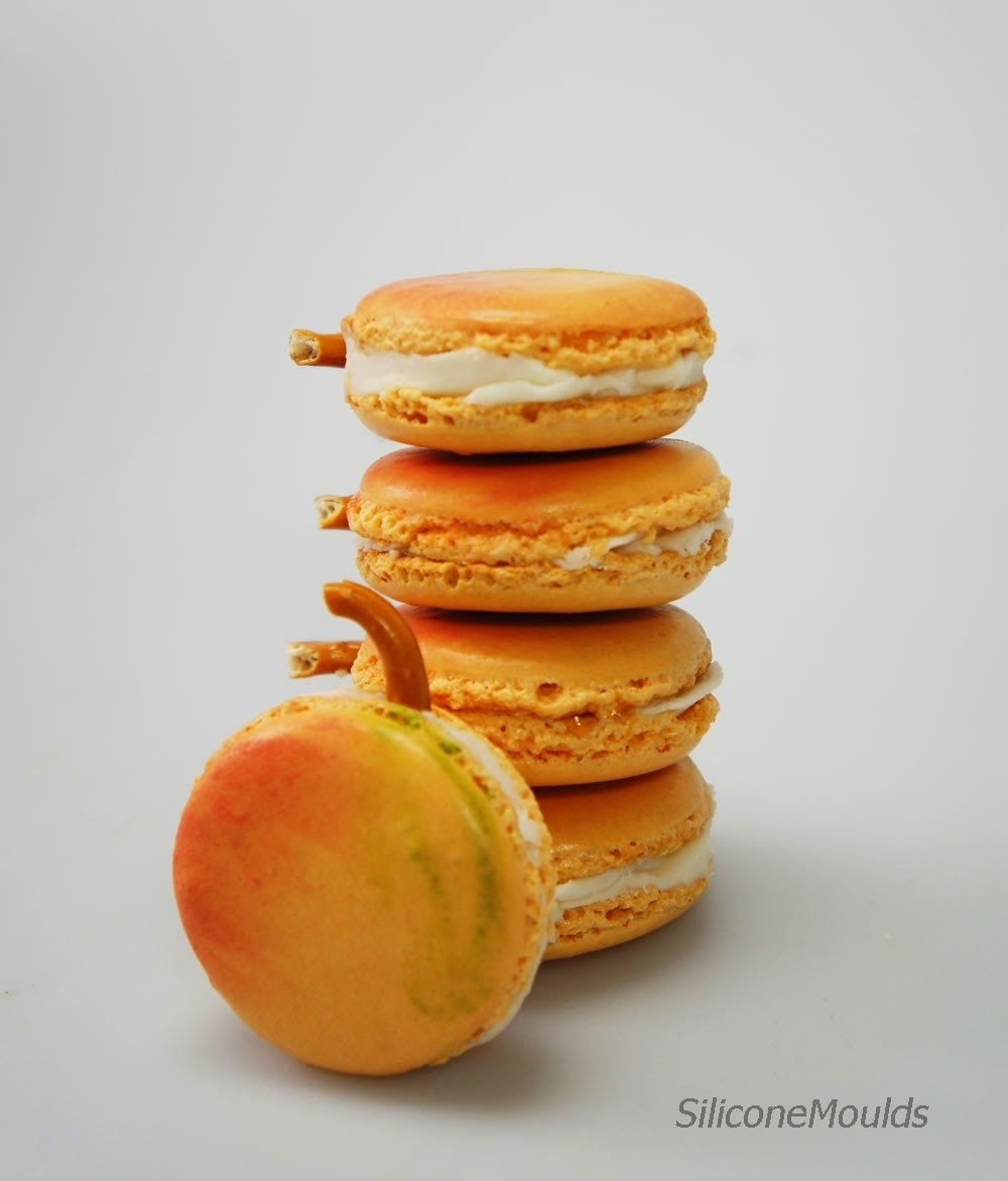 Apricot Macarons / Macaroons with Curaco Liqueur Buttercream - RECIPE - www.siliconemoulds.com
