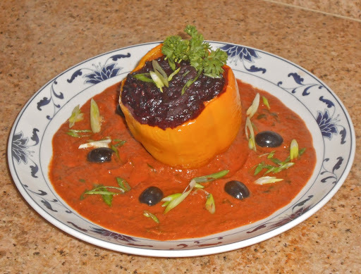 Neufchatel Shrimp and Black Rice Stuffed Holland Pepper with Tarragon Livornese Sauce
