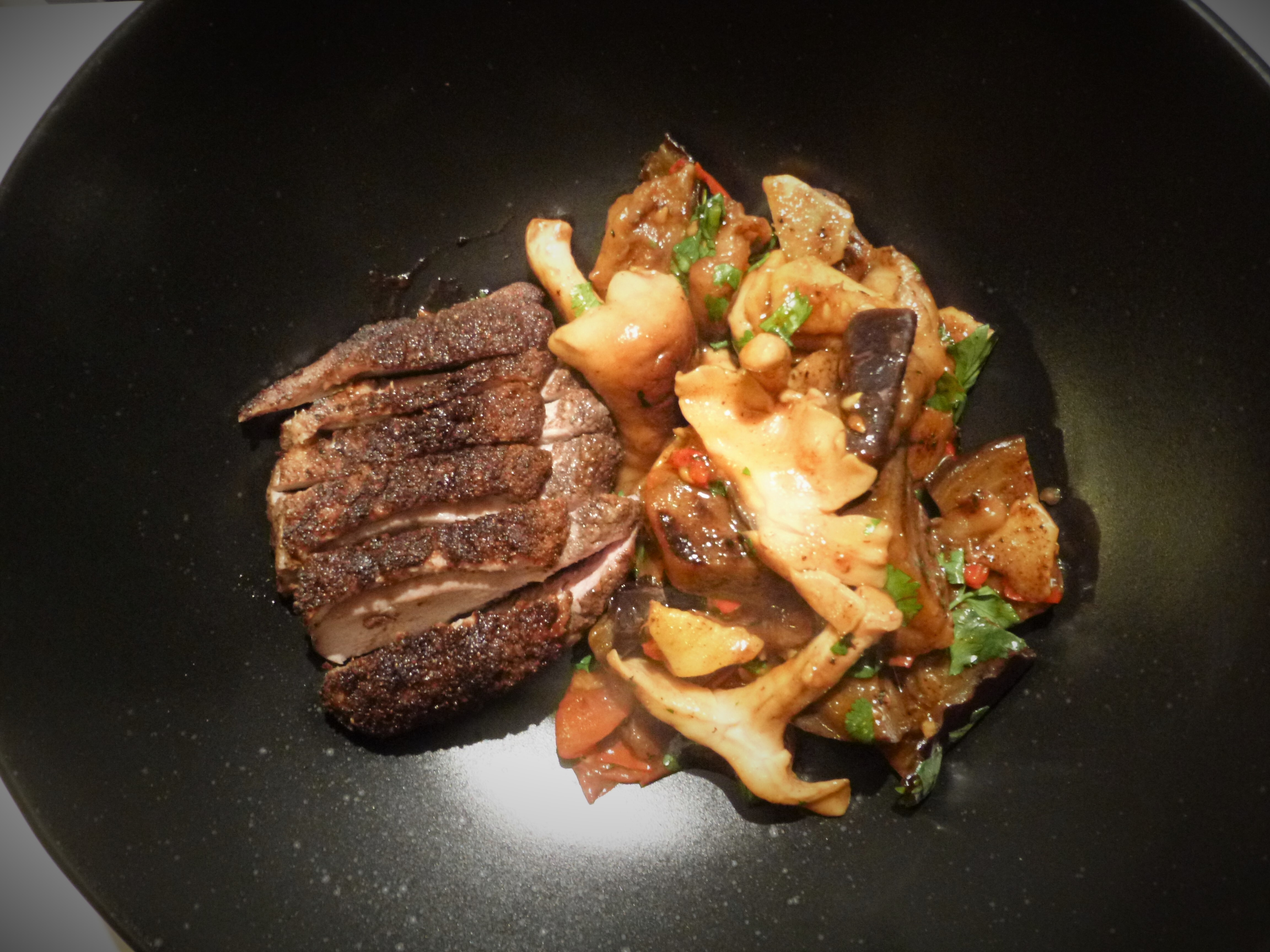 Five Spice Pan Fried Duck Breast with Shitake Mushroom, Aubergine and Fresh Tomato Oyster Sauce Stir Fry Recipe