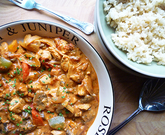 * Chicken and Three Pepper Goulash