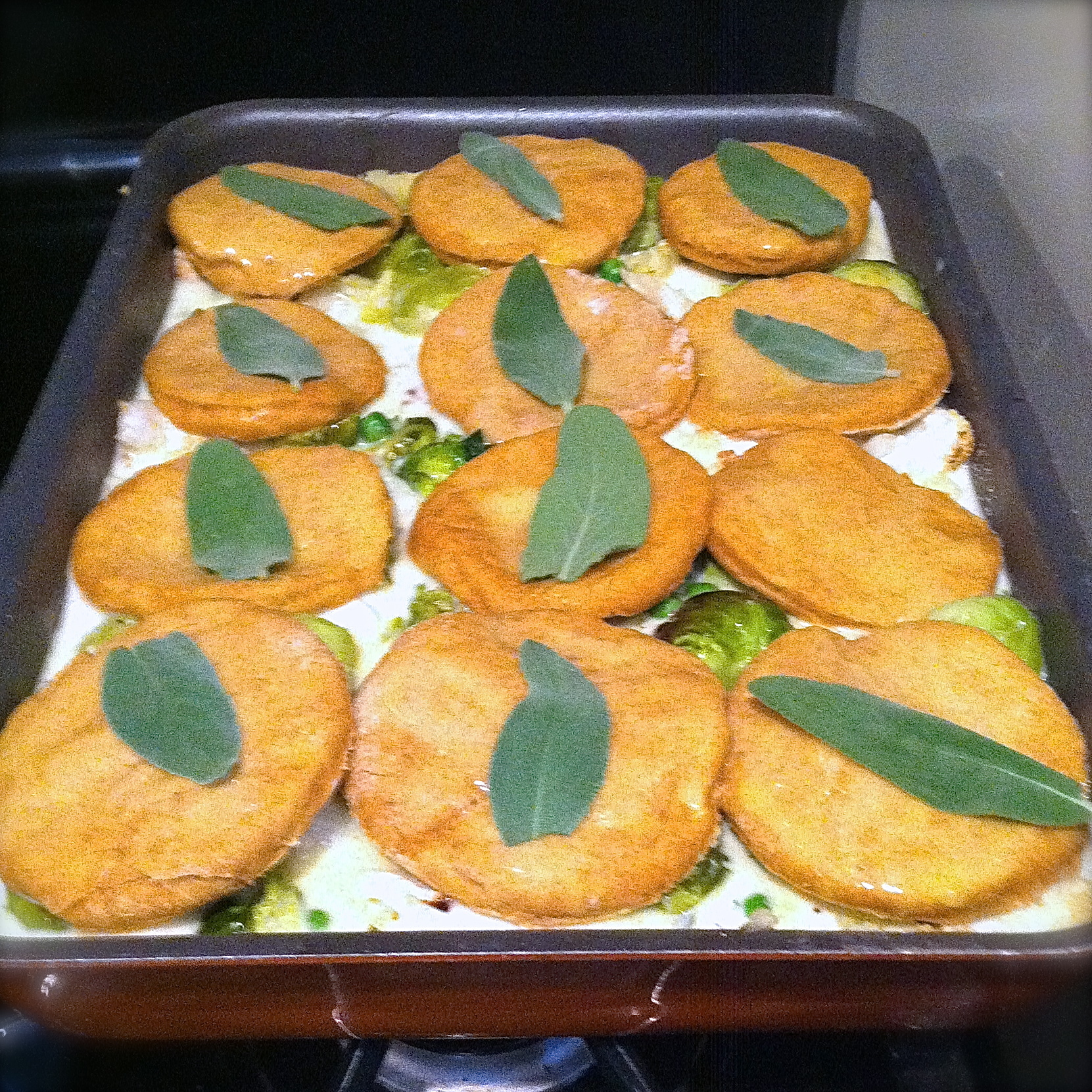 Vegetable Pot Pie with Sweet Potato Biscuits
