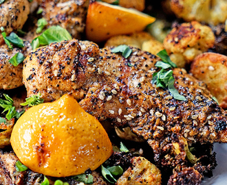 Turkish Grilled Chicken and Roasted Vegetables with Lemon and Basil
