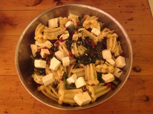 Pasta with Sun dried Tomatoes and Mozz