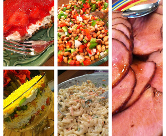 Coca Cola Ham, Black-eyed Pea Salad, Macaroni Salad, Cornbread Salad & my Strawberry-Pretzel salad recipes from today's show!  Hope you enjoy! :)