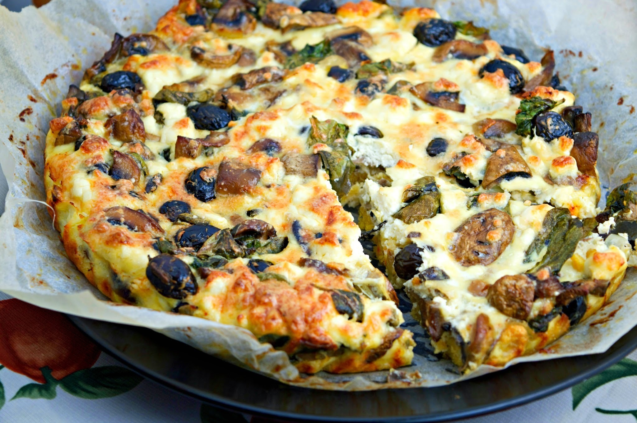 Meatless Monday: Vegetarian Frittata with Mushrooms, Spinach & Black Olives