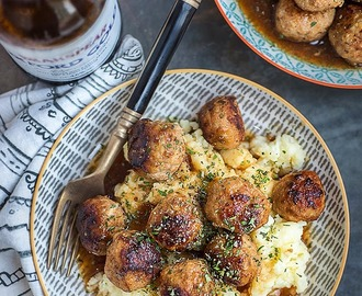 Herby pork meatballs in ale gravy