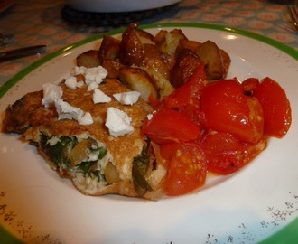 Spinach omelette (with roast tomatoes and potatoes)