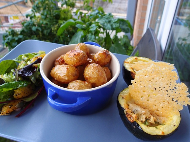 Stuffed gem squashes with baked new potatoes