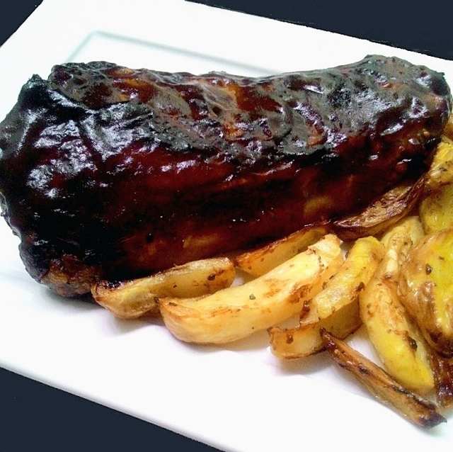 Costelinha glaceada no molho barbecue (Ribs on the barbie – na airfryer ou no forno)