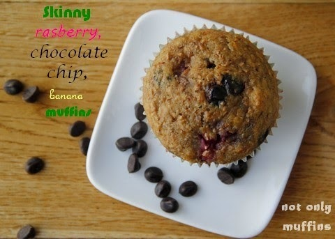 Oat bran, raspberry, banana and chocolate chip muffins